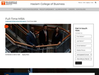mba.utk.edu screenshot