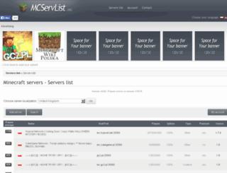 mcservlist.org screenshot