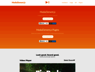 mediaelementjs.com screenshot
