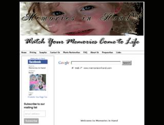 memoriesinhand.com screenshot