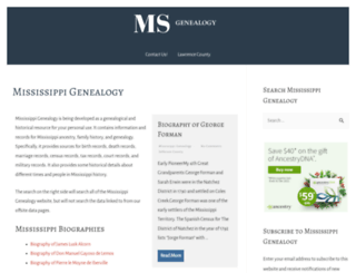 mississippigenealogy.com screenshot