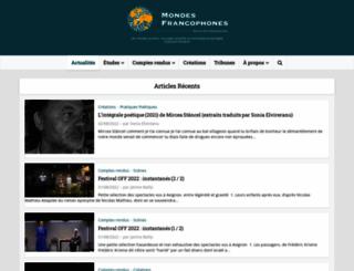 mondesfrancophones.com screenshot
