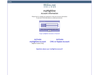 myinfo.highline.edu screenshot