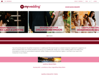 mywedding.honeymoonwishes.com screenshot