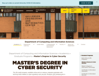 onlinecybersecurity.valpo.edu screenshot