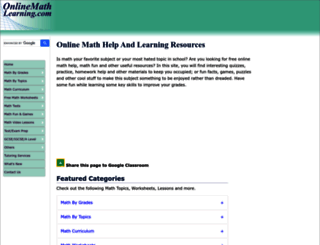 onlinemathlearning.com screenshot