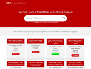 openinghourspostoffice.co.uk screenshot