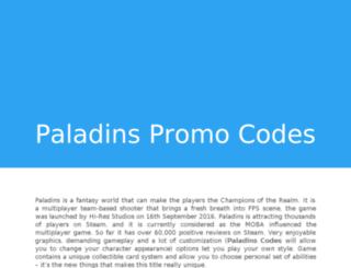 paladinspromocodes.com screenshot