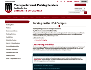 parking.uga.edu screenshot
