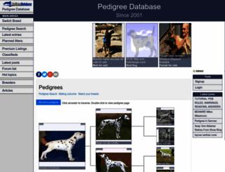pedigreedatabase.com screenshot