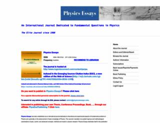 physicsessays.org screenshot