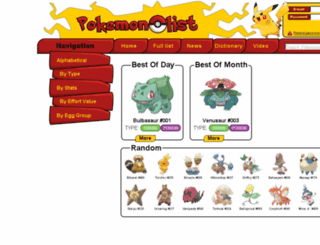 pokemonlist.net screenshot