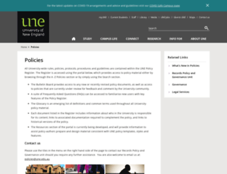 policies.une.edu.au screenshot