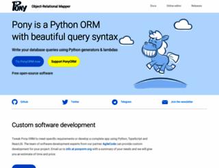 ponyorm.com screenshot