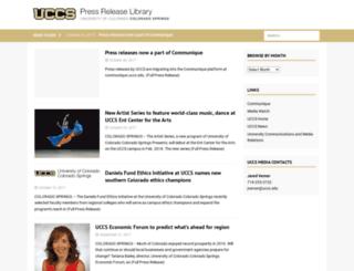 pressreleases.uccs.edu screenshot