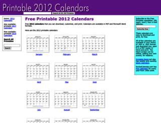 printable2012calendars.com screenshot