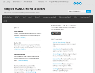 projectmanagementlexicon.com screenshot