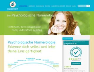 psychologischenumerologie.at screenshot