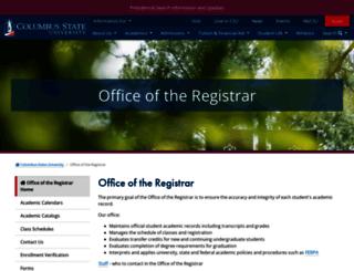 registrar.columbusstate.edu screenshot