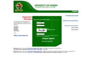 registration.unza.zm screenshot