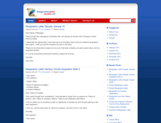 resignationlettersample.net screenshot