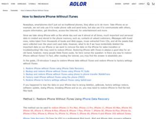 restoreiphonewithoutitunes.aolor.com screenshot