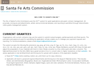 santafenm.culturegrants.org screenshot