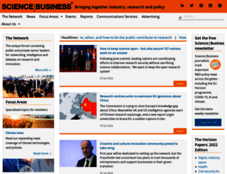 sciencebusiness.net screenshot