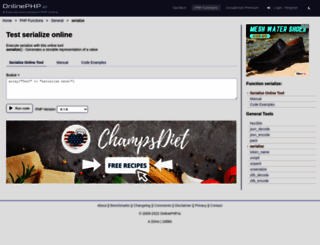serialize.onlinephpfunctions.com screenshot