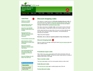 shoppingcodes.co.uk screenshot