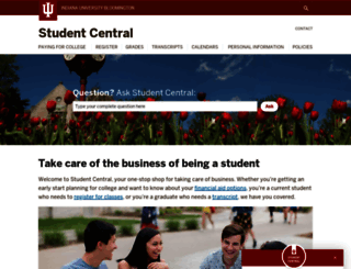 studentcentral.indiana.edu screenshot