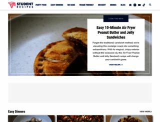 studentrecipes.com screenshot