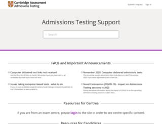 support.admissionstestingservice.org screenshot