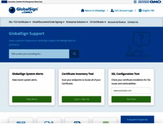 support.globalsign.com screenshot