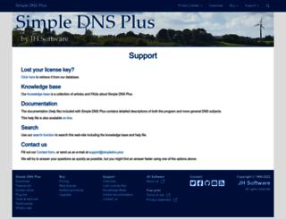 support.simpledns.com screenshot