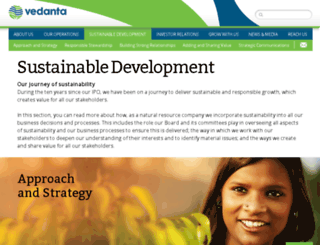 sustainabledevelopment.vedantaresources.com screenshot