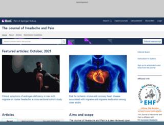 thejournalofheadacheandpain.com screenshot