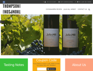 thompsonwines.com.au screenshot