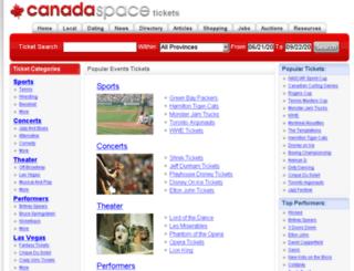 tickets.canadaspace.com screenshot