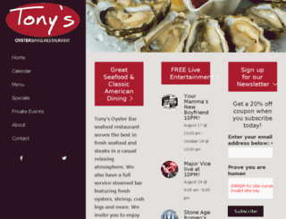tonysoysterbar.com screenshot