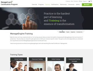 training.manageengine.com screenshot