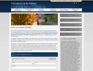 undergraduatecatalog.richmond.edu screenshot