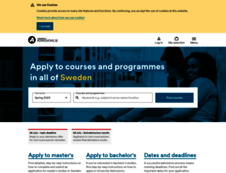 universityadmissions.se screenshot