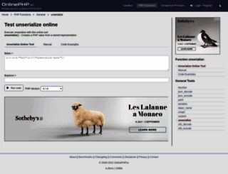 unserialize.onlinephpfunctions.com screenshot