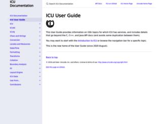 userguide.icu-project.org screenshot