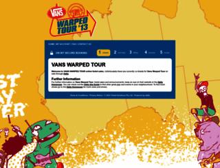 vanswarpedtour.oztix.com.au screenshot