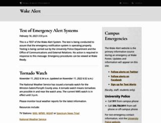 wakealert.wfu.edu screenshot