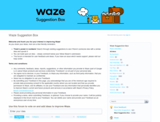waze.uservoice.com screenshot