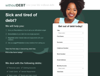 withoutdebt.co.za screenshot