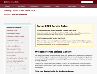 writingcenter.missouristate.edu screenshot